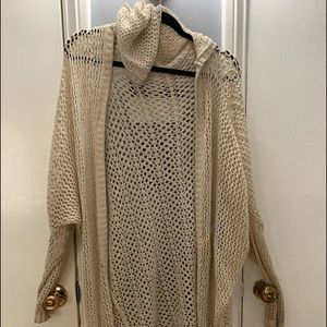 Oversized fishnet cardigan